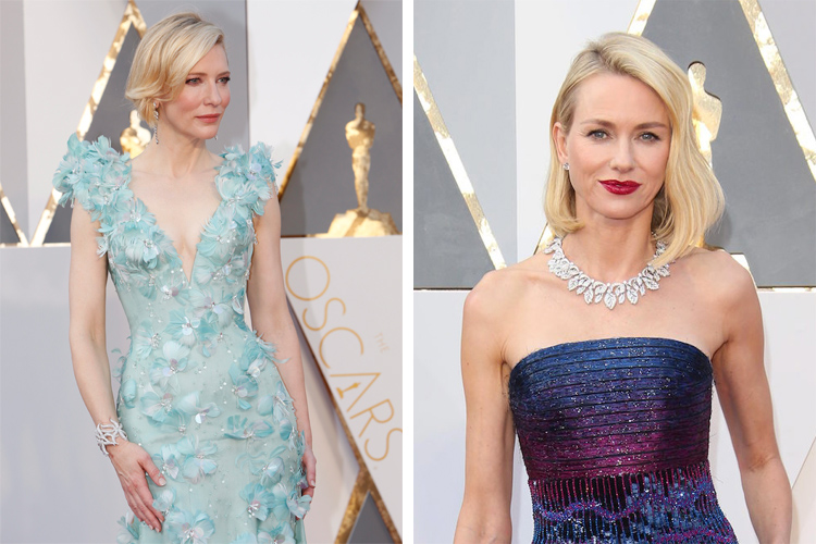 Cate Blanchett and Naomi Watts at the 2016 Oscars