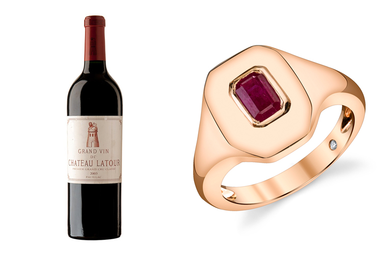 2003 Chateau Latour and a Shay Fine Jewelry gold ruby ring