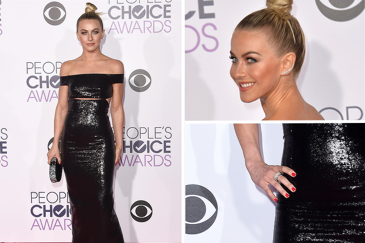 Julianne Houghs: sexy in black and diamonds at the 2016 People's Choice Awards