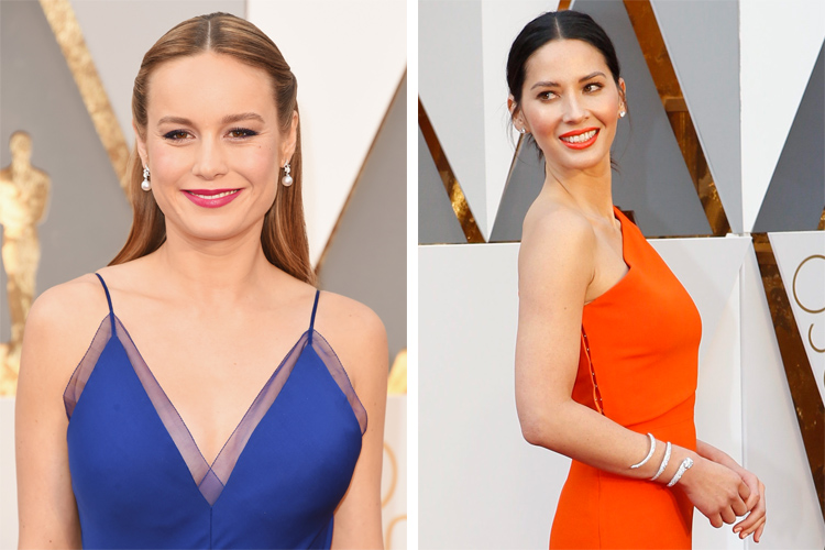 Brie Larson and Olivia Munn at the 2016 Oscars