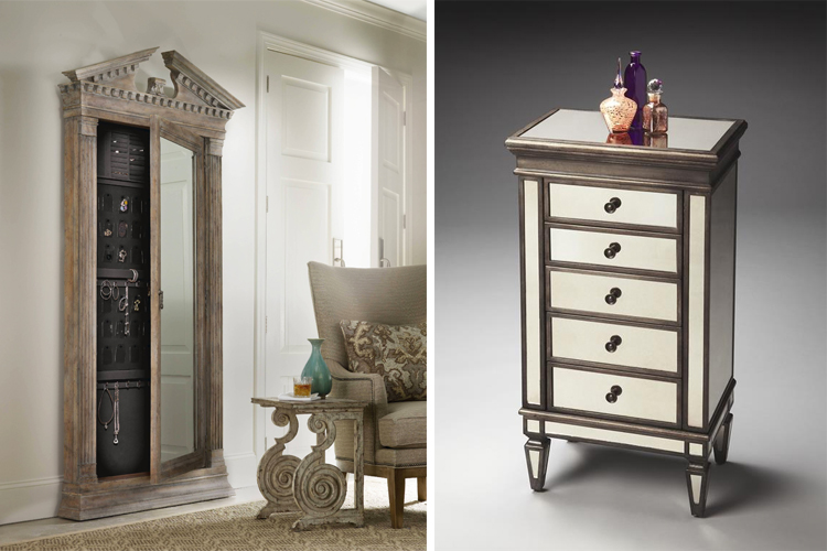 Jewelry armoires: models by Hooker Furniture (left) and Darby's Big Furniture (right)