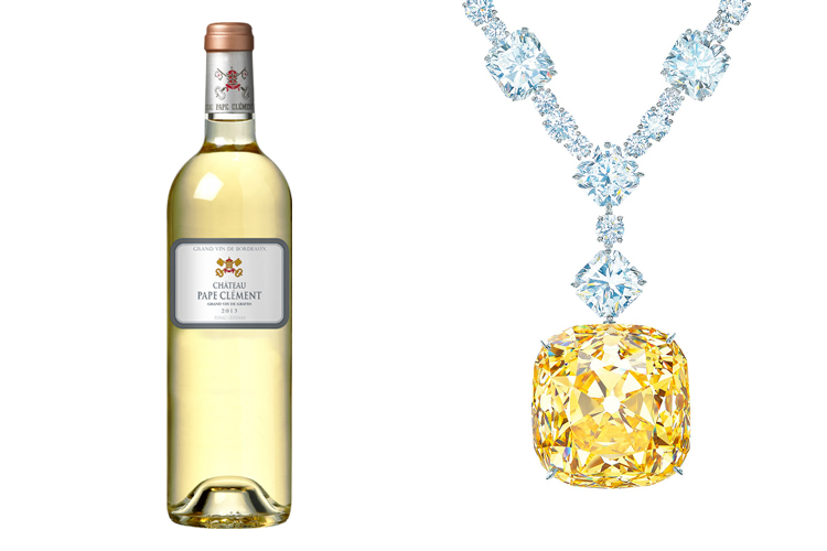 Pape Clément Blanc 2009 and a yellow diamond necklace from Tiffany & Co.