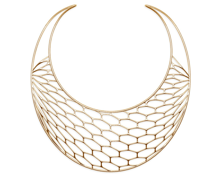 The HIVE: a 3D-printed necklace made from 18-karat gold | Photo: Daniel Christian Tang