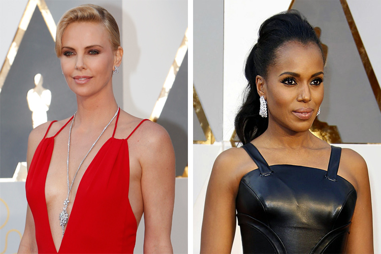 Charlize Theron and Kerry Washington at the 2016 Oscars