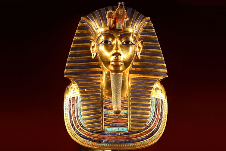 Tutankhamun: his gold mask is encrusted with lapis lazuli and semi-precious stones