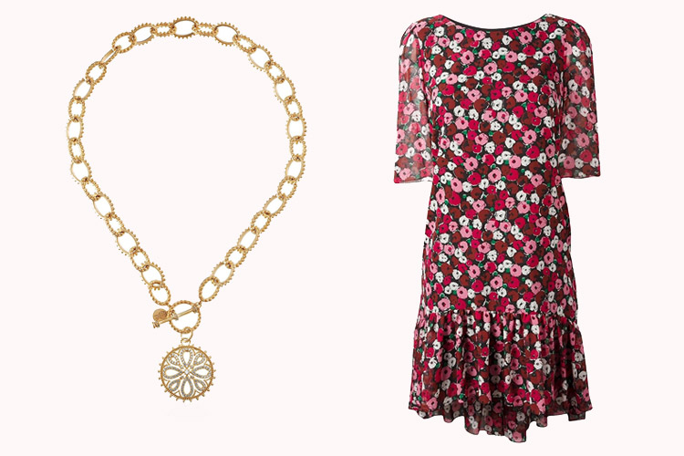 Freida Rothman Necklace | Saint Laurent Dress